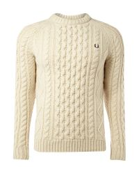 Fred Perry | Natural Aran Crew Knit Sweater for Men | Lyst