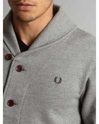 Fred Perry | Gray Shawl Collar Sweat Cardigan Steel Marl for Men | Lyst