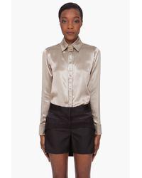 Givenchy | Natural Glossy Khaki Silk Blouse | Lyst
