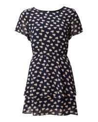 Glamorous | Blue Short Sleeve Heart Print Dress | Lyst