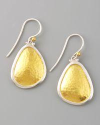Gurhan | Metallic Hammered Gold Drop Earrings | Lyst