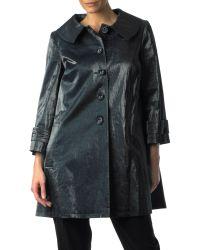 Helene Berman Blue Linen Swing Coat