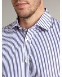 Howick Blue Long Sleeved Two Width Stripe Formal Shirt for men