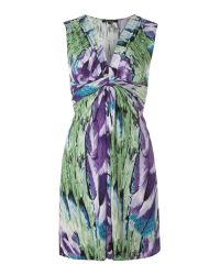 Izabel London Green Sleeveless Printed Dress