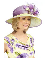 Jacques Vert Purple Two Tone Feather Trim Hat