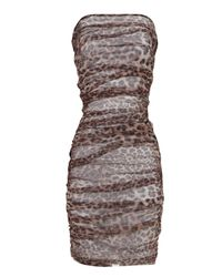 Jane Norman Brown Leopard Ruched Mesh