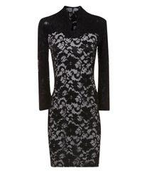 Jane Norman Natural Contrast Lace Vneck Dress
