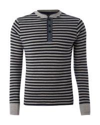 J.C. RAGS Blue Stripe Button Neck Henley for men