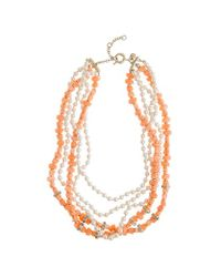 J.Crew - Pink Pearl and Coral Necklace - Lyst