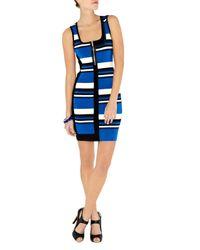 Karen Millen   Blue Tonal Neutral Stripe Knit Dress   Lyst