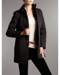 Kenneth Cole Black Longline Quilted Hooded Jacket