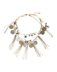 Label Lab Metallic Cream and Gold Charm Necklace