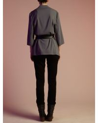 Label Lab Gray Soft Tailored Wrap Over Jacket