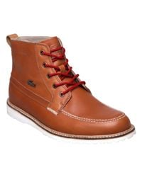 Lacoste | Brown Marceau Leather Hiking Boots for Men | Lyst