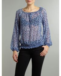 Linea Weekend Blue Floral Ditsy Print Blouse