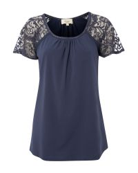 Linea Weekend Blue Jersey Top with Lace Sleeves