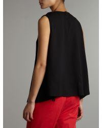 Maggie And Me Black Sleeveless Pleat Top
