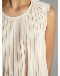 Maggie And Me Natural Sleeveless Pleat Top