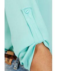 Nasty Gal Blue Chiffon Pocket Blouse