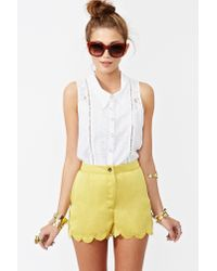 Nasty Gal Yellow Sunny Scallop Shorts