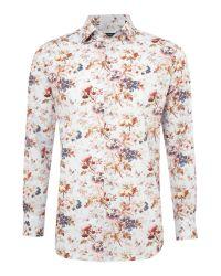 New & Lingwood Multicolor Burghley Botanical Print Formal Shirt for men