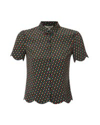 NW3 by Hobbs Multicolor Nw3 Spot Scallop Blouse with Short Sleeves