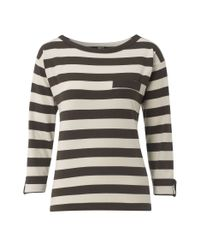 NW3 by Hobbs - Gray Nw3 Bold Stripe Jersey Long Sleeved Top with Pocket - Lyst