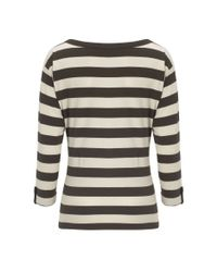 NW3 by Hobbs Gray Nw3 Bold Stripe Jersey Long Sleeved Top with Pocket