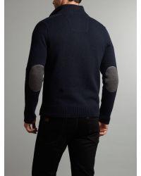 Nza Blue Lambswool Half Zip Knit for men