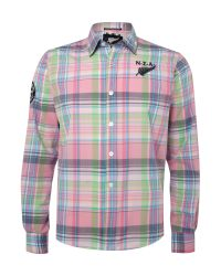 Nza Green Multi Check Long Sleeved Shirt for men