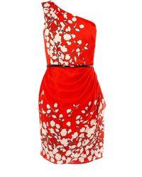 Oasis Multicolor Floral One Shoulder Dress