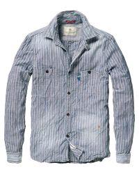 Scotch & Soda Gray Chambray Utility Shirt for men