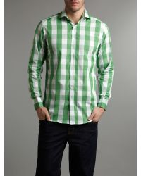 Simon Carter Green Long Sleeved Big Check Shirt for men