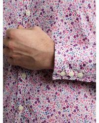 Simon Carter Pink Long Sleeved Ditsy Floral Print Shirt for men