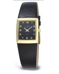 Skagen Black Steel Leather Watch