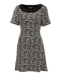 Sodamix Black Pearl Trim Floral Dress