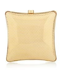 Stella McCartney | Gold Satinlined Perforated Box Clutch | Lyst