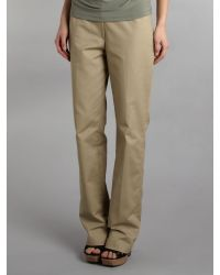 T Tahari Natural Cotton Stretch Straight Leg Trousers