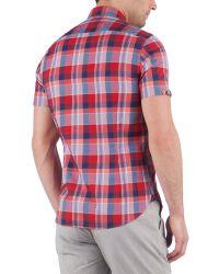Ted Baker Gray Ankola Short-sleeved Check Shirt for men
