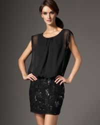 Aidan Mattox Black Beaded Skirt Blouson Dress