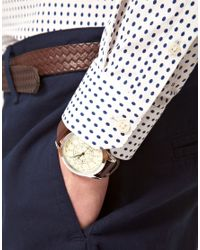 ASOS Natural Asos Slim Fit Polka Dot Shirt for men