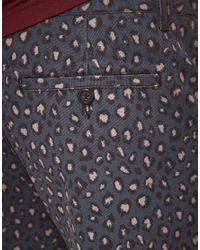 ASOS Gray Asos Leopard Print Shorts for men