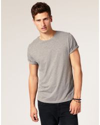 ASOS Gray T Shirt with Rolled Sleeves for men