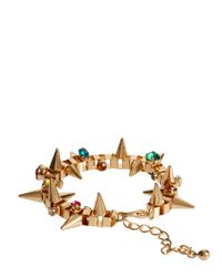 ASOS | Metallic Asos Jewelled Spike Bracelet | Lyst