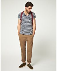Denham Blue Barnum Stripe V Neck T-Shirt for men