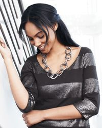 Devon Leigh | Gray Gunmetal Link Necklace | Lyst