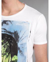 DIESEL White Palm Tree Face Tshirt for men