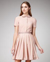 Jil Sander Navy Pink Grosgrain Ribbon Pleated Skirt