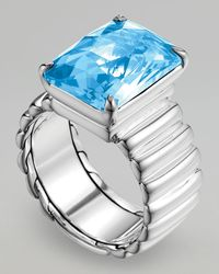 John Hardy | Wide Band Ring Blue Topaz | Lyst
