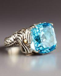 John Hardy Metallic Naga Batu Ring Blue Topaz